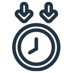 Clock icon with arrows demonstrating limited down time